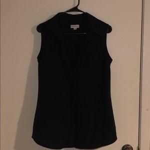 Merona Black Sleeveless Button up Blouse